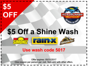 Roadrunner Car Wash - $5 Off A Shine Wash Coupon Image